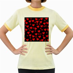 Flowers And Hearts Women s Fitted Ringer T Shirts by MoreColorsinLife