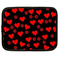 Flowers And Hearts Netbook Case (large)	 by MoreColorsinLife