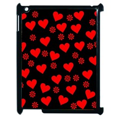 Flowers And Hearts Apple iPad 2 Case (Black) by MoreColorsinLife