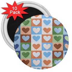 Hearts Plaid 3  Magnets (10 Pack)  by MoreColorsinLife