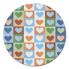 Hearts Plaid Magnet 5  (Round) by MoreColorsinLife