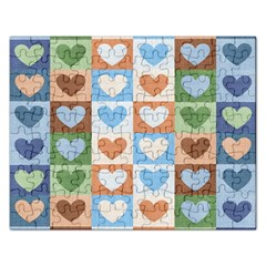 Hearts Plaid Rectangular Jigsaw Puzzl by MoreColorsinLife