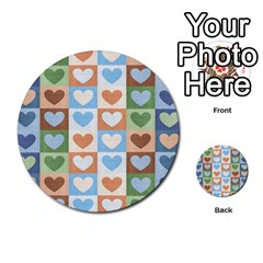Hearts Plaid Multi Purpose Cards (round)  by MoreColorsinLife