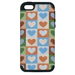 Hearts Plaid Apple Iphone 5 Hardshell Case (pc+silicone) by MoreColorsinLife