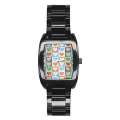 Hearts Plaid Stainless Steel Barrel Watch by MoreColorsinLife