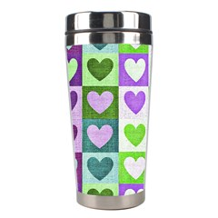 Hearts Plaid Purple Stainless Steel Travel Tumblers by MoreColorsinLife