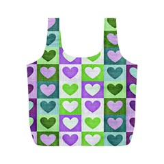 Hearts Plaid Purple Full Print Recycle Bags (m)  by MoreColorsinLife