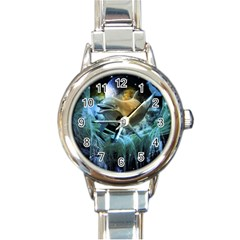 Funny Dolphin In The Universe Round Italian Charm Watches by FantasyWorld7