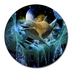 Funny Dolphin In The Universe Round Mousepads