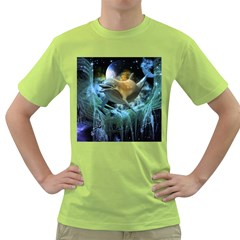 Funny Dolphin In The Universe Green T Shirt