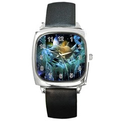Funny Dolphin In The Universe Square Metal Watches