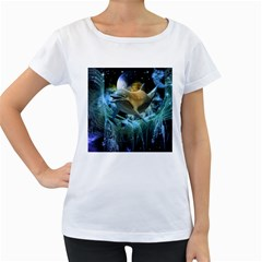 Funny Dolphin In The Universe Women s Loose Fit T Shirt (white)