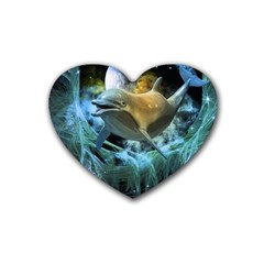 Funny Dolphin In The Universe Heart Coaster (4 Pack)