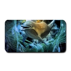 Funny Dolphin In The Universe Medium Bar Mats by FantasyWorld7