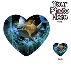 Funny Dolphin In The Universe Multi Purpose Cards (heart)  by FantasyWorld7