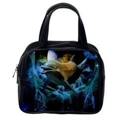 Funny Dolphin In The Universe Classic Handbags (one Side)