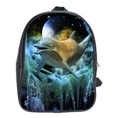 Funny Dolphin In The Universe School Bags(large)