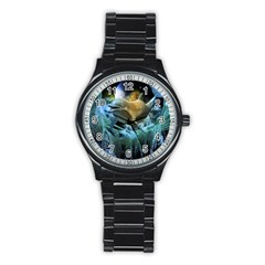 Funny Dolphin In The Universe Stainless Steel Round Watches