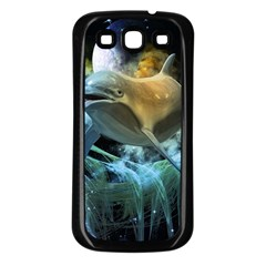 Funny Dolphin In The Universe Samsung Galaxy S3 Back Case (black) by FantasyWorld7