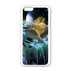Funny Dolphin In The Universe Apple Iphone 6/6s White Enamel Case by FantasyWorld7
