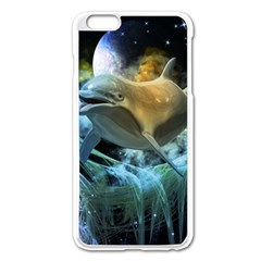 Funny Dolphin In The Universe Apple Iphone 6 Plus/6s Plus Enamel White Case