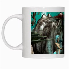 Cute Mermaid Playing With Orca White Mugs by FantasyWorld7