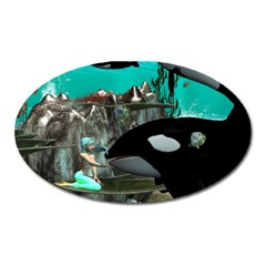Cute Mermaid Playing With Orca Oval Magnet by FantasyWorld7