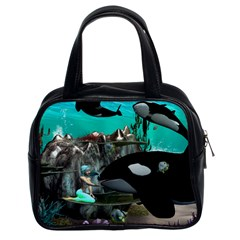 Cute Mermaid Playing With Orca Classic Handbags (2 Sides) by FantasyWorld7