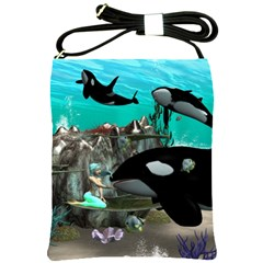 Cute Mermaid Playing With Orca Shoulder Sling Bags by FantasyWorld7