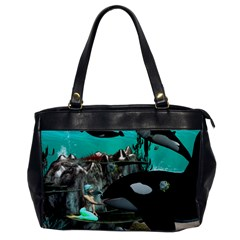 Cute Mermaid Playing With Orca Office Handbags by FantasyWorld7