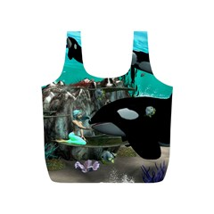 Cute Mermaid Playing With Orca Full Print Recycle Bags (s)  by FantasyWorld7