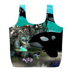 Cute Mermaid Playing With Orca Full Print Recycle Bags (l)  by FantasyWorld7