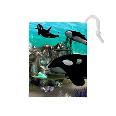 Cute Mermaid Playing With Orca Drawstring Pouches (medium)  by FantasyWorld7
