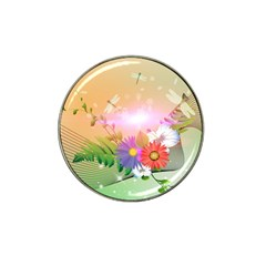 Wonderful Colorful Flowers With Dragonflies Hat Clip Ball Marker (10 Pack) by FantasyWorld7