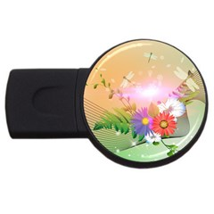 Wonderful Colorful Flowers With Dragonflies Usb Flash Drive Round (4 Gb)  by FantasyWorld7
