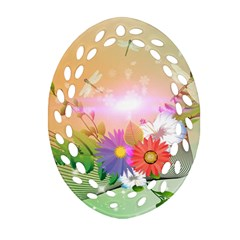 Wonderful Colorful Flowers With Dragonflies Ornament (oval Filigree)  by FantasyWorld7
