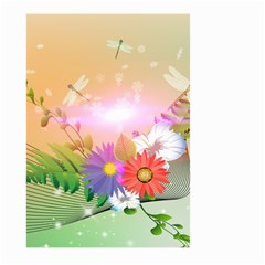 Wonderful Colorful Flowers With Dragonflies Large Garden Flag (two Sides) by FantasyWorld7