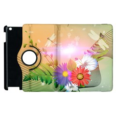 Wonderful Colorful Flowers With Dragonflies Apple Ipad 2 Flip 360 Case