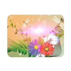 Wonderful Colorful Flowers With Dragonflies Double Sided Flano Blanket (mini)  by FantasyWorld7
