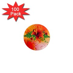 Awesome Red Flowers With Leaves 1  Mini Magnets (100 Pack)  by FantasyWorld7