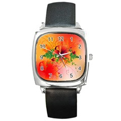 Awesome Red Flowers With Leaves Square Metal Watches by FantasyWorld7