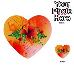 Awesome Red Flowers With Leaves Multi Purpose Cards (heart)  by FantasyWorld7