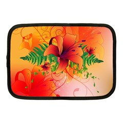 Awesome Red Flowers With Leaves Netbook Case (medium)  by FantasyWorld7