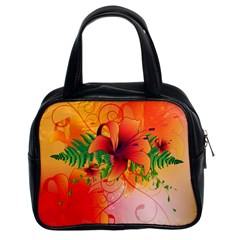 Awesome Red Flowers With Leaves Classic Handbags (2 Sides) by FantasyWorld7