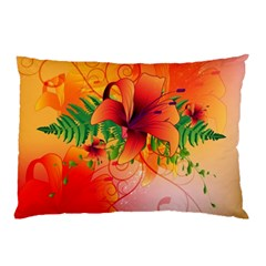 Awesome Red Flowers With Leaves Pillow Cases by FantasyWorld7