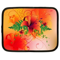 Awesome Red Flowers With Leaves Netbook Case (xl)  by FantasyWorld7