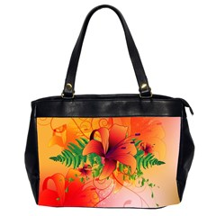 Awesome Red Flowers With Leaves Office Handbags (2 Sides)  by FantasyWorld7