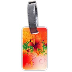 Awesome Red Flowers With Leaves Luggage Tags (one Side)  by FantasyWorld7