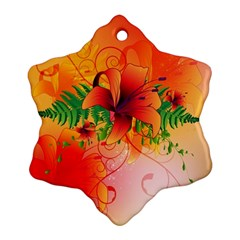 Awesome Red Flowers With Leaves Ornament (snowflake)