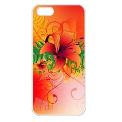 Awesome Red Flowers With Leaves Apple Iphone 5 Seamless Case (white) by FantasyWorld7